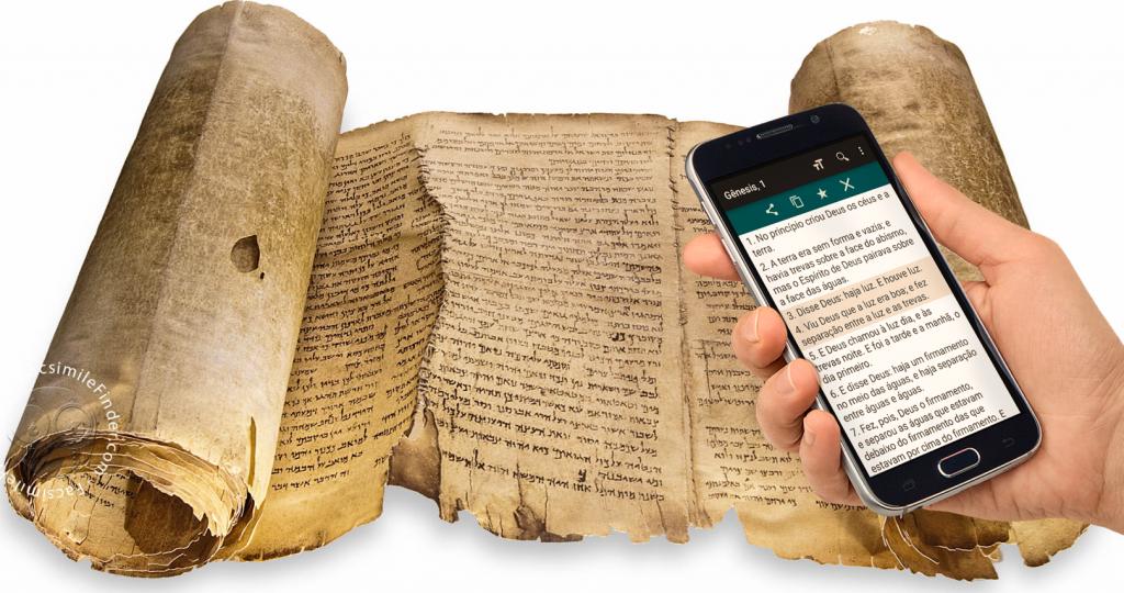 El rollo de Isaías, 1Qlsaa, encontrado en los rollos del Mar Muerto, que data aprox. 350-10 a.C.